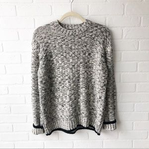 Topshop Gray/Black/White Crewneck Sweater 8